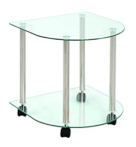 table desserte en tube d 39 acier aluminium 2 plateaux en verre transparent demi rond l42 x p41 x. Black Bedroom Furniture Sets. Home Design Ideas