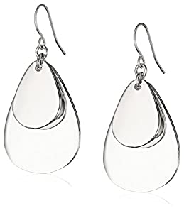 Kenneth Cole New York Silver Layered Tear Drop Earrings