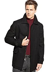 Michael Kors Mens Wool Blend Collared Coat