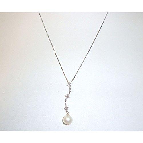 Ambrosia Gioielli - Collana girocollo donna Ambrosia in oro bianco 18 carati con perla e zirconi