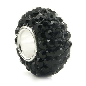 Swaroski Black Crystal Ball Bead Sterling Silver Charm Fits Pandora Chamilia Biagi Trollbeads European Bracelet
