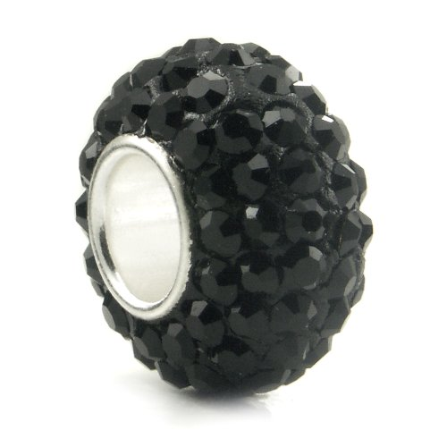 Swarovski Black Crystal Ball Bead Sterling Silver