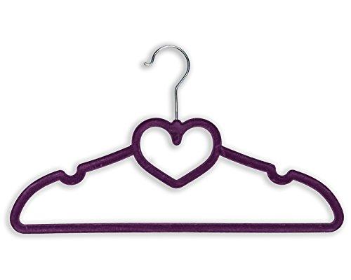 BriaUSA Heart Shaped Velvet Coat Hangers Set of 10 Purple with Steel Swivel Hooks -Slim, Sturdy.