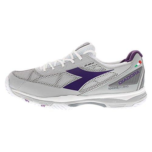 Diadora Women's Speed Pro Evo Ag Tennis Shoes (Grey/White/Violet) (10 B(M) US)