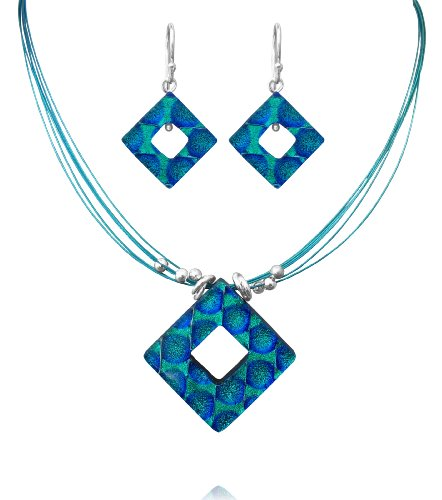 Sterling Silver Dichroic Glass Green and Blue Hollow Diamond-Shaped Necklace and Earrings Set, 18