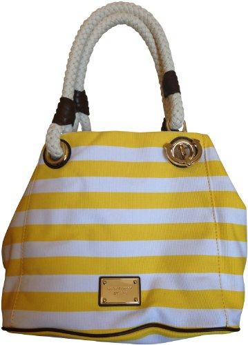 MICHAEL Michael KorsMichael Kors Marina MD Grab Bag Striped Canvas Citrus White