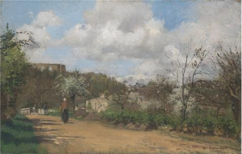 Oil Painting 'Camille Pissarro - View From Louveciennes,1869-70' Printing On Perfect Effect Canvas , 30x47 Inch / 76x119 Cm ,the Best Gym Decor And Home Decoration And Gifts Is This High Quality Art Decorative Canvas Prints