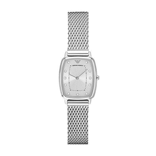Emporio Armani AR2495 - Reloj de cuarzo con la banda de metal para mujer, color verde / plateado