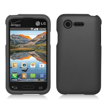 Rubberized Plastic Black Hard Cover Snap On Case For Lg Optimus Zone 2 Vs415 + Free Car Charger (Accessorys4Less)