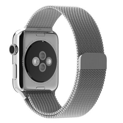 Amanstino Watch Band Milanese Loop Stainless Steel Bracelet Smart Watch Strap with Unique Magnet Lock, No Buckle Needed for Apple Watch 42mm Silver