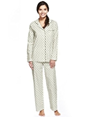 Pure Cotton Revere Collar Spotted Pyjamas