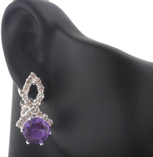 Ladies Silver Iced Out Ribbon Style with Purple Stone Clip On Stud Earrings