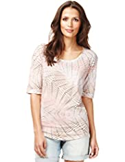 Indigo Collection Diamond Print Ombre T-Shirt with Modal