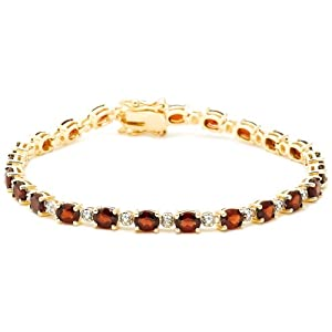 18k Yellow Gold Plated Sterling Silver Garnet and Diamond Accent Bracelet, 7.25""