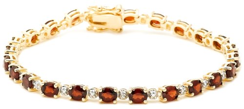 18k Yellow Gold Overlay Sterling Silver Garnet w/ Diamond Accent Bracelet, 7.25