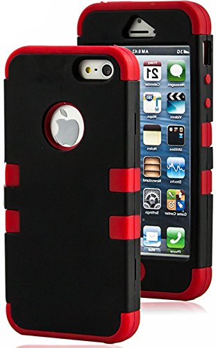 """Mylife Crimson Red And Black - Matte Color Series (Neo Hypergrip Flex Gel) 3 Piece Case For Iphone 5/5S (5G) 5Th Generation Smartphone By Apple (External 2 Piece Fitted On Hard Rubberized Plates + Internal Soft Silicone Easy Grip Bumper Gel) """"Attention: T"""