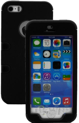 Mylife (Tm) True Black - Robot Series (Neo Hypergrip Flex Gel) 3 Piece Case For Iphone 5/5S (5G) 5Th Generation Itouch Smartphone By Apple (External 2 Piece Fitted On Hard Rubberized Plates + Internal Soft Silicone Easy Grip Bumper Gel + Lifetime Warranty