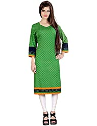 Lookslady Bollywood Fashion Green Full Sleeve Floral Print Polyester Casual Wear Sweetheart Neck Long Designer...