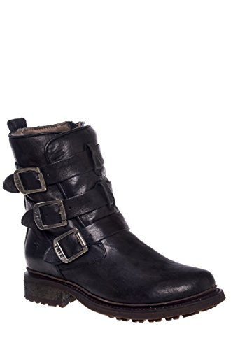 Valerie Shearling Strappy Low Heel Boot