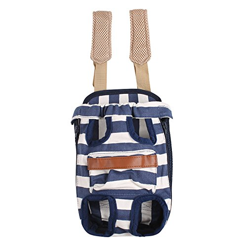 Fatpet TM Pet Legs Out Travel Front Style Canvas Stripe Dog Puppy Cat Carrier Bag Backpack 4Sizes M