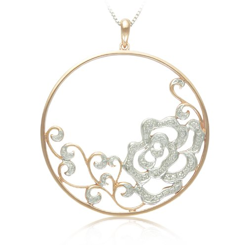 Sterling Silver with Pink Gold Plated Diamond Flower Circle Pendant Necklace, 18