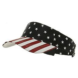 MG Pro Style Cotton Twill Velcro Sun Visor Hat Cap (USA Flag - Red/White/Blue)
