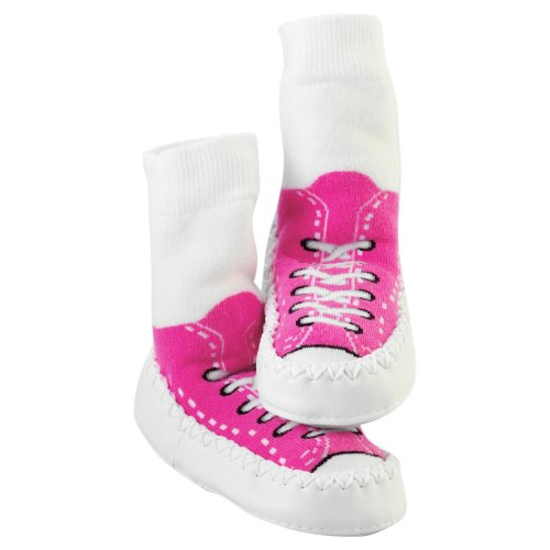 Mocc Ons Clever Little Slipper Socks Sneaker, 18-24 Months, Fuschia