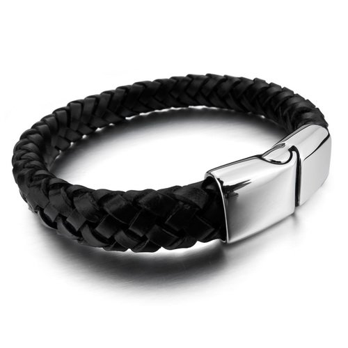 Justeel Men 316L Stainless Steel Bracelet Bangle Black Genuine Leather Cord 10mm , (Width x Length: 0.39 x inches)