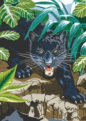 Royal & Langnickel Junior Mini Paint By Number Kit: 5x7 Black Leopard - 1