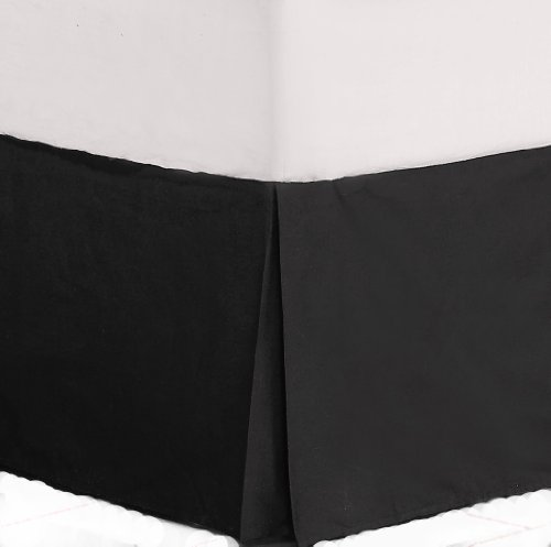 Best Review Of Divatex Home Fashions 200-Thread Count King Bed Skirt/Dust Ruffles, Black