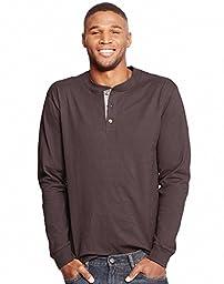 Hanes Men\'s Long Sleeve Beefy Henley Shirt, Dark Truffle, X-Large