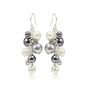 Cream and Grey Simulated Pearl Drop Earrings