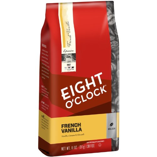 Eight O'Clock French Vanilla Whole Bean Coffee, 11-Ounce Bags (Pack of 6)