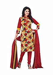 Aarti Apparels Women's Cotton Unstitched Dress Material_BeautyQueen-6_Red and Yellow