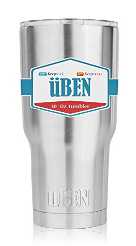 Premium Double Wall Vacuum Insulated 30 oz Large Capacity 18/8 Stainless Steel TUMBLER with UPGRADED SLIDE LOCK LID by ÜBEN