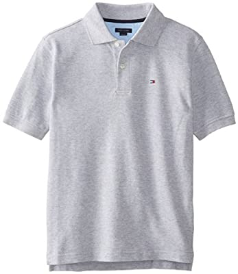 Tommy Hilfiger Big Boys' Short Sleeve Ivy Polo Shirt, Grey Heather, Large