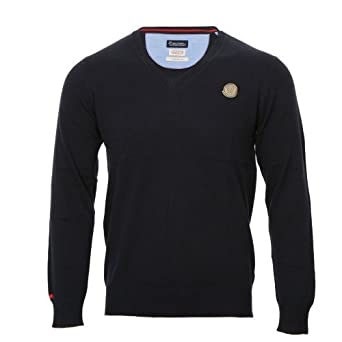 Two Stoned Mens Chuck V Neck Sweater Navy Blue (XXL)