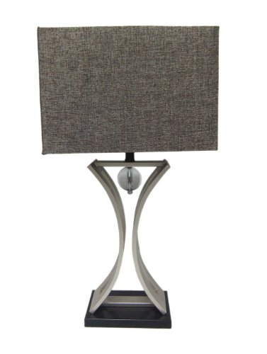 Elegant Designs Lt2001-Chr Conference Room Hourglass Shape With Pendulum Table Lamp, Chrome/Black