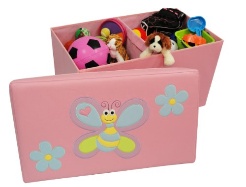RiverRidge Kids Storage Ottoman with Bee and Flowers Design Pink