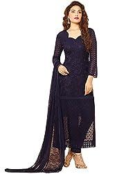 Rozdeal Latest Dark Blue Nazneen Chiffon Dress Material