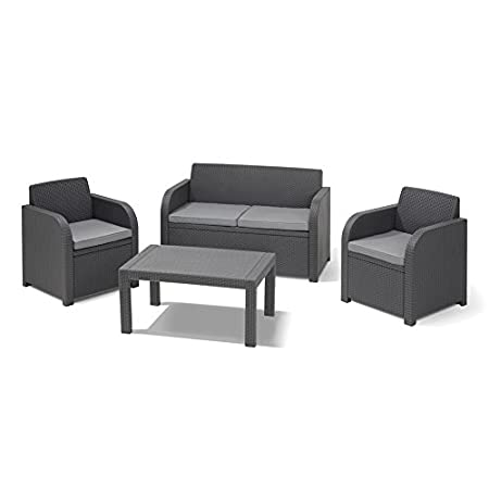 Allibert Montpellier 4 Piece Graphite Grey Outdoor Garden Conservatory Furniture Set