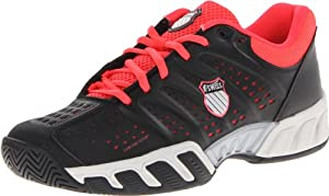 K-Swiss Women's Bigshot Light Tennis Shoe,Black/Neon Red/Vapor,6.5 M US