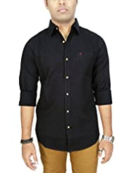 AA' Southbay Men's Black Premium Linen Cotton Long Sleeve Solid Casual Shirt