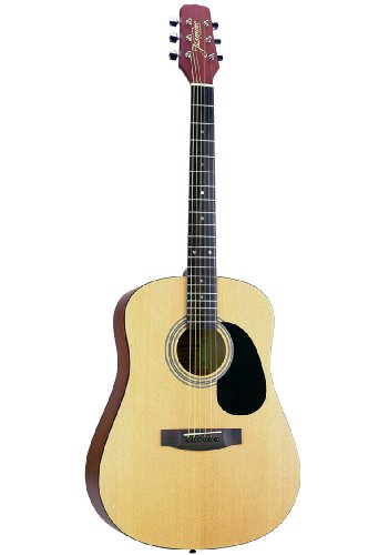 Jasmine S35 Dreadnought Acoustic Guitar Bundle With Gig Bag, Tuner, Strap, Strings, Picks, And Polishing Cloth - Natural