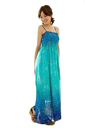 Demarkt Elegant Longue Robe avec Voile pour les Femmes/ Sans Manches / 2 Couleur a Choisir/ Taille Unique (Bleu)