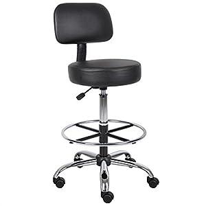 Boss B16245-BK Caressoft Medical/Drafting Stool with Back Cushion
