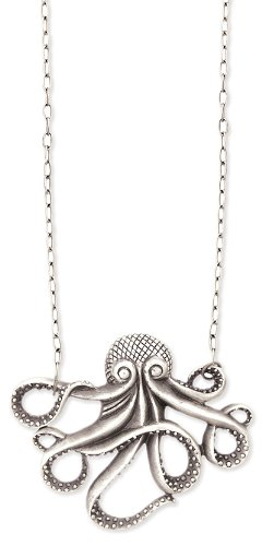 Antique Silver Metal Octopus Necklace