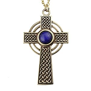 Small Celtic Cross with 8mm Lapis Lazuli Gemstone on Rolo Chain
