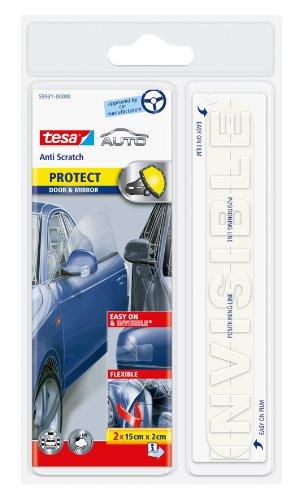 Tesa 15 x 2 cm Anti-Scratch Door and Mirror Self Adhesive Car Bodywork Protectors (Set of 2)