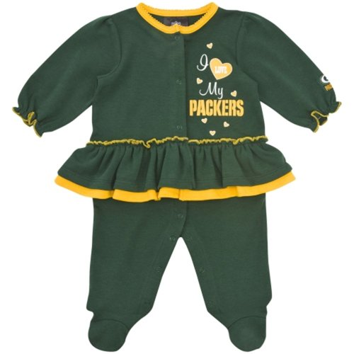 NFL Green Bay Packers Girl's Sleep N Play Sleepers, 6-9 Months, Green at Amazon.com